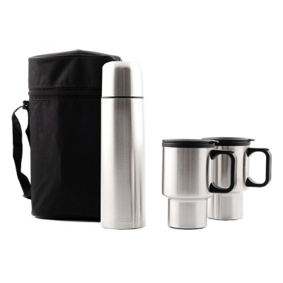 Thermal Flask And Mug Set Silver