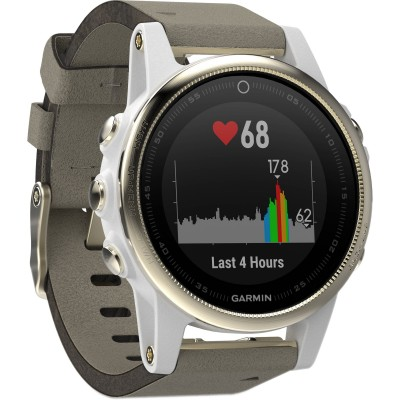 Garmin Fenix 5S Sapphire Goldtone With Grey Suede Band