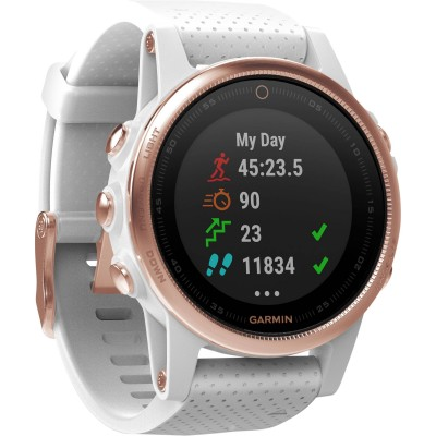 Garmin Fenix 5S Sapphire Rose Goldtone With White Band