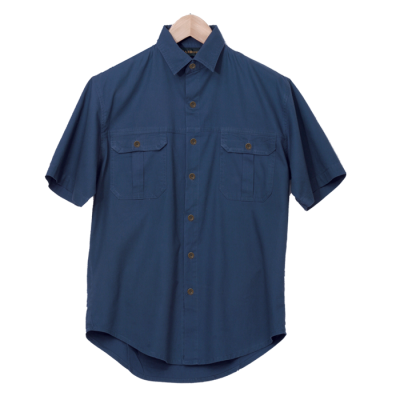 Mens Plain Bush Shirt Airforce Blue Size 2XL