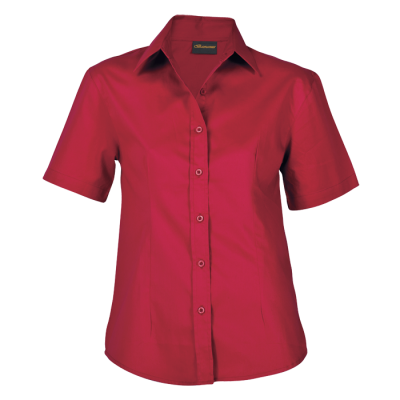 Ladies Brushed Cotton Twill Blouse Short Sleeve Red Size 2XL