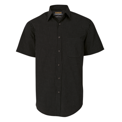 Mens Pioneer Check Lounge Short Sleeve Black Size 5XL