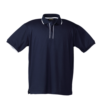 Mens Piping Golfer Navy/White Size 2XL