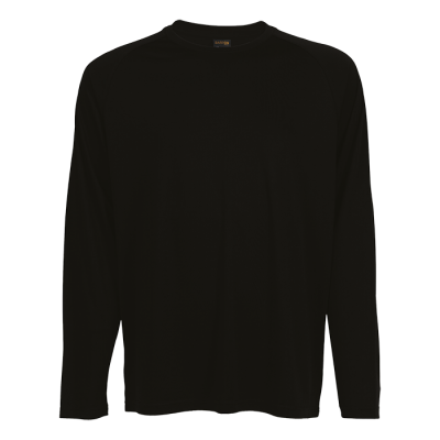 135G Long Sleeve Polyester T-Shirt Black Size 3XL