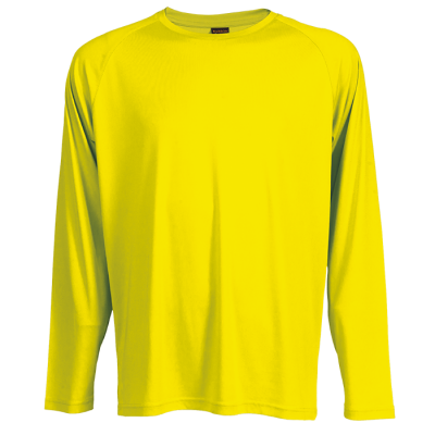 135G Long Sleeve Polyester T-Shirt Safety Yellow Size 4XL