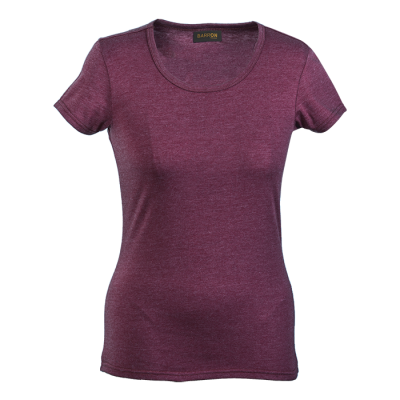 Ladies Melange Crew Neck T-Shirt Maroon Melange Size 3XL