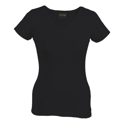 Ladies Slub V Neck T-Shirt Black Size 2XL