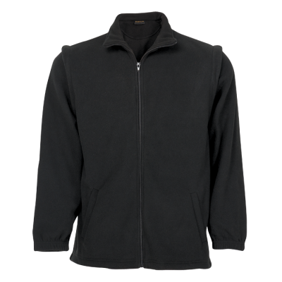 Mens Ultra Micro Fleece With Zip Off Sleeves Black Size 2XL