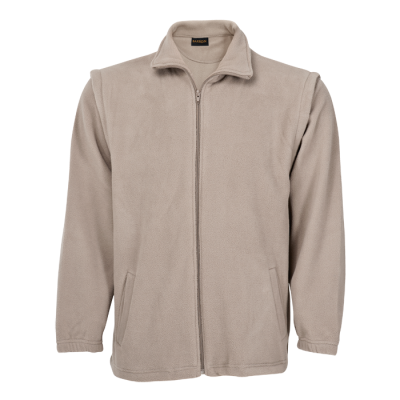 Mens Ultra Micro Fleece With Zip Off Sleeves Khaki Size Small