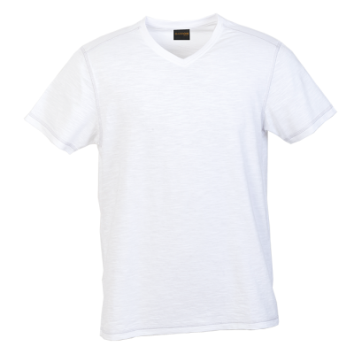 Mens Slub V Neck T-Shirt White Size Medium