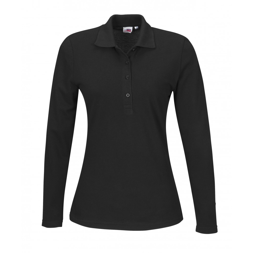 Us Basic Ladies Long Sleeve Elemental Golf Shirt Black Size Large