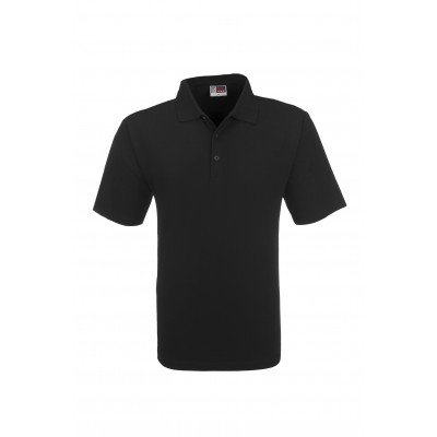 Us Basic Cardinal Mens Single Jersey Golf Shirt Black Size Small