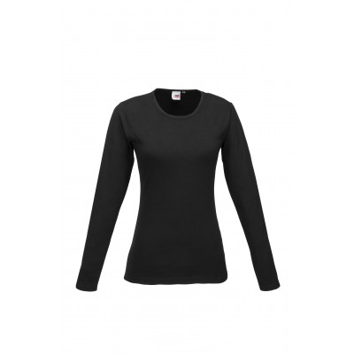 Us Basic Ladies Long Sleeve Portland T-Shirt Black Size 2XL