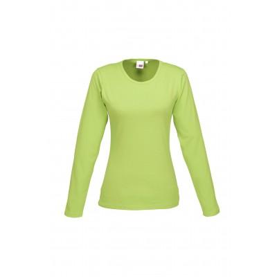 Us Basic Ladies Long Sleeve Portland T-Shirt Lime Size 4XL