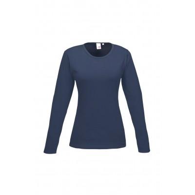 Us Basic Ladies Long Sleeve Portland T-Shirt Navy Size Medium