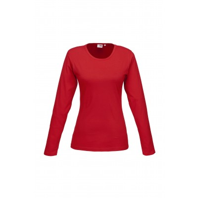 Us Basic Ladies Long Sleeve Portland T-Shirt Red Size Small
