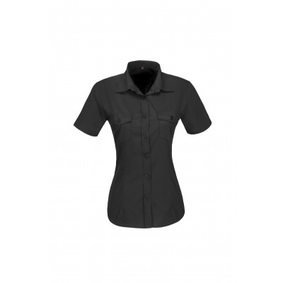 Us Basic Ladies Short Sleeve Kensington Shirt Black Size 2XL