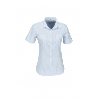 Us Basic Ladies Short Sleeve Kensington Shirt Light Blue Size Large
