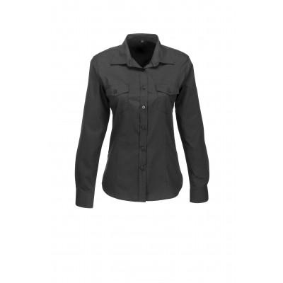 Us Basic Ladies Long Sleeve Kensington Shirt Black Size Small