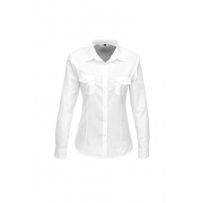 Us Basic Ladies Long Sleeve Kensington Shirt White Size 3XL