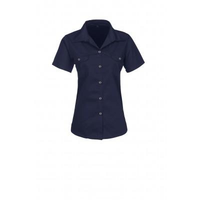 Us Basic Ladies Short Sleeve Wildstone Shirt Navy Size Medium