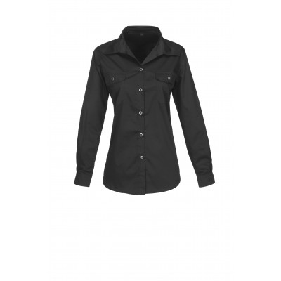 Us Basic Ladies Long Sleeve Wildstone Shirt Black Size 3XL
