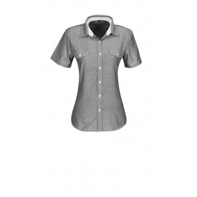 Us Basic Ladies Short Sleeve Windsor Shirt Grey Size Large