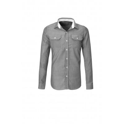 Us Basic Mens Long Sleeve Windsor Shirt Grey Size 5XL