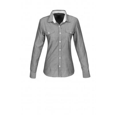 Us Basic Ladies Long Sleeve Windsor Shirt Grey Size Medium
