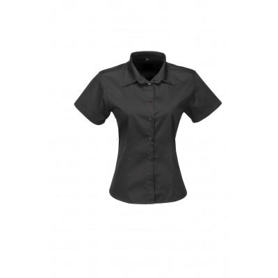Us Basic Ladies Short Sleeve Milano Shirt Black Size XL