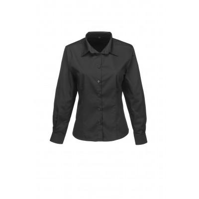 Us Basic Ladies Long Sleeve Milano Shirt Black Size Large