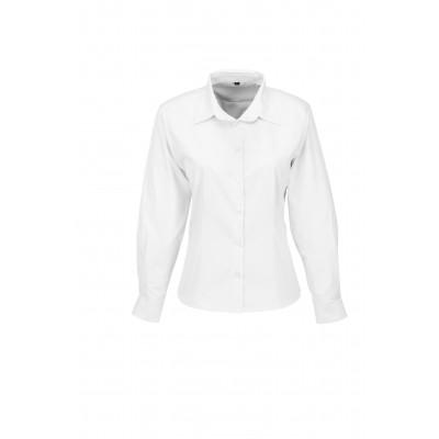 Us Basic Ladies Long Sleeve Milano Shirt White Size Large