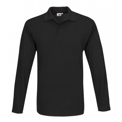 Us Basic Mens Long Sleeve Elemental Golf Shirt Black Size 5XL