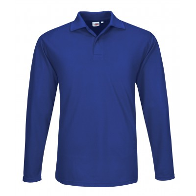 US Basic Mens Long Sleeve Elemental Golf Shirt Size 4XL Blue