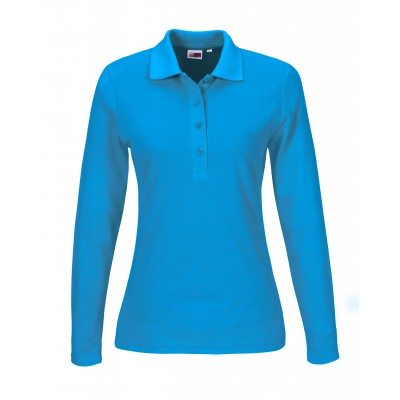 Us Basic Ladies Long Sleeve Elemental Golf Shirt Aqua Size Medium