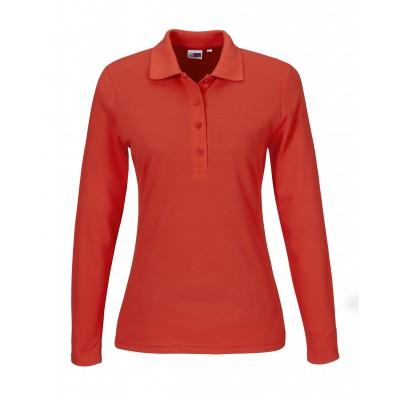 Us Basic Ladies Long Sleeve Elemental Golf Shirt Red Size Medium