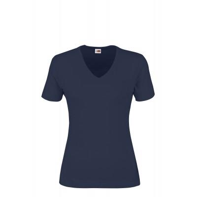 US Basic Ladies Super Club 165 V-Neck T-Shirt Navy Size 3XL