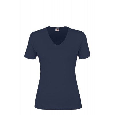 US Basic Ladies Super Club 165 V-Neck T-Shirt Navy Size L