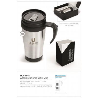 Arabica Double Wall Mug- 450ml Silver