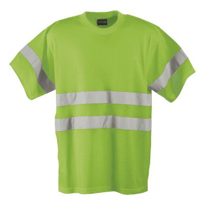 150g Poly Cotton Safety T-Shirt with tape Lumo Green Size Medium