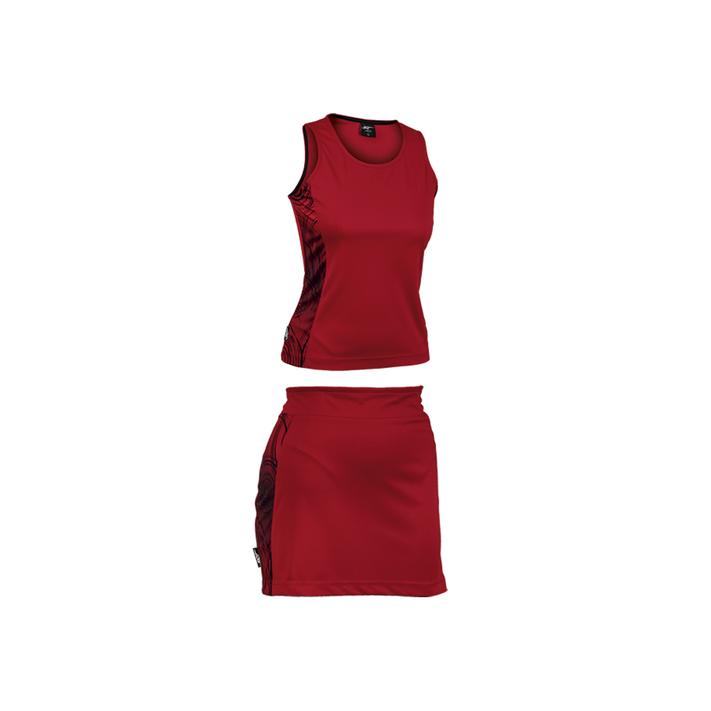 BRT Triflex Single Set - Top and Skirt Red/Black Size Medium
