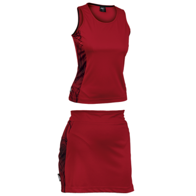 BRT Triflex Single Set - Top and Skirt Red/Black Size Small