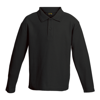 Kiddies 175g Pique Knit Long Sleeve Golfer Black Size 7 to 8
