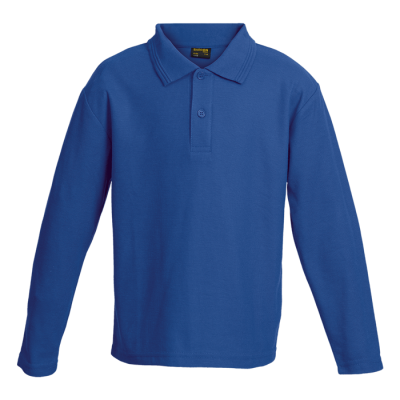 Kiddies 175g Pique Knit Long Sleeve Golfer Royal Size 9 to 10