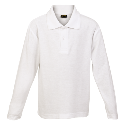 Kiddies 175g Pique Knit Long Sleeve Golfer White Size 11 to 12