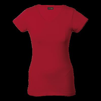 Ladies 170g Slim Fit V-Neck T-Shirt Red Size XL