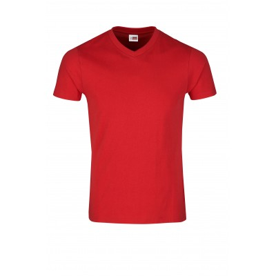 US Basic Mens Super Club 165 V-Neck T-Shirt Red Size M
