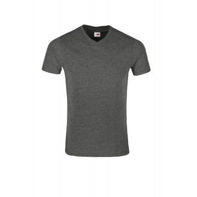 US Basic Mens Michigan Melange V-Neck T-Shirt Dark Grey Size L