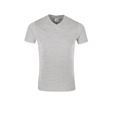 US Basic Mens Michigan Melange V-Neck T-Shirt Grey Size S