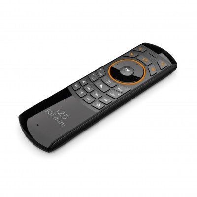 Rii Wireless QWERTY Air Mouse Dual-Sided IR Remote Keyboard Black